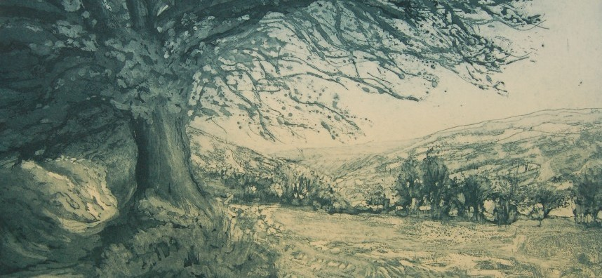 Mary Gillett, Walking to Withypool, etching, 32 x 43 cms, Mary Gillett
