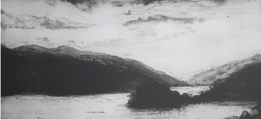 Twice across the water, etching, 53 x 33 cms, slide sh